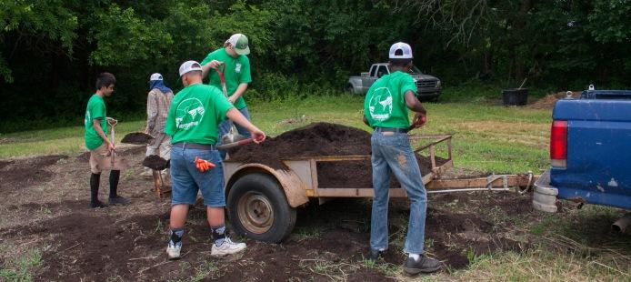 Boys Grow - shoveling compost2